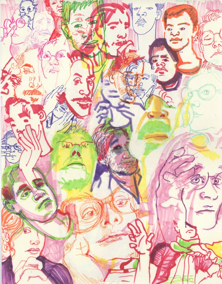Layered Page of Marker Portraits