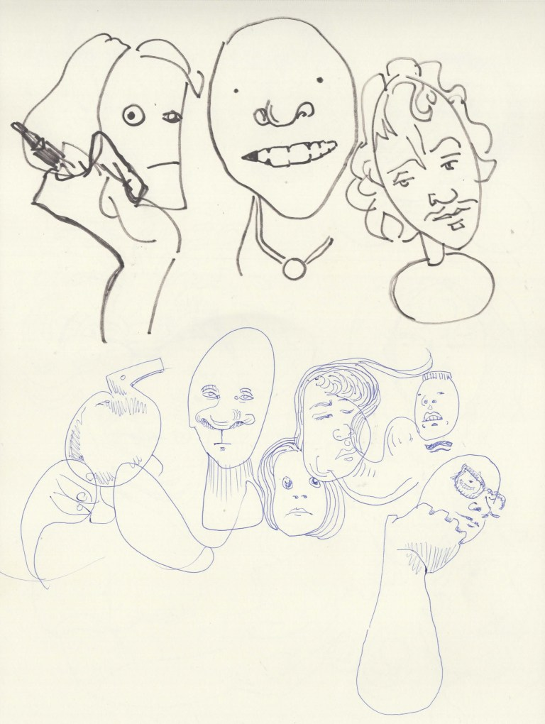 A Series of Quick Sketches based on Repeated Glances with an Emphasis on Imaginative Interpretation Rather than Fealty to Likeness