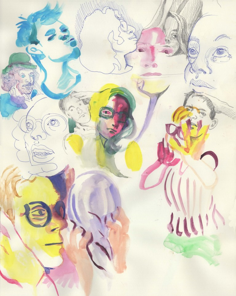 Mixed Media Faces twos and fives