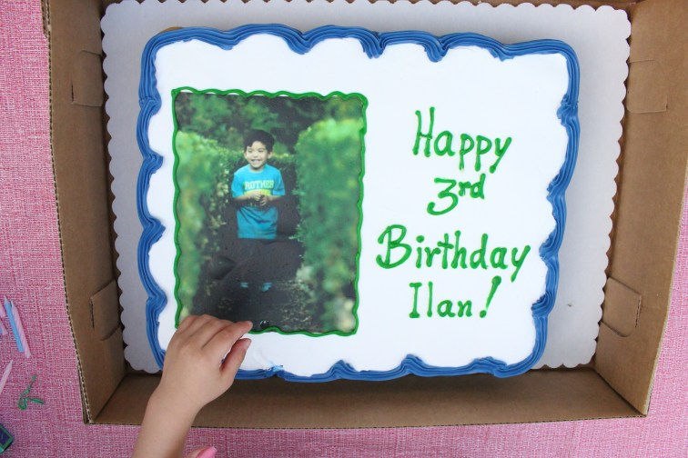 His birthday cake from his party at his grandparents' house a couple of weeks ago. They couldn't have chosen a better picture.