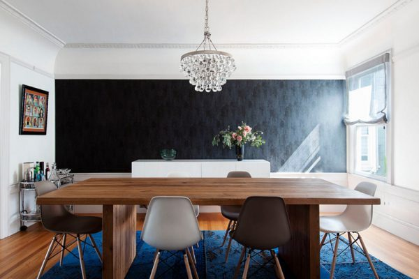 Dining Room With A Black Accent Wall