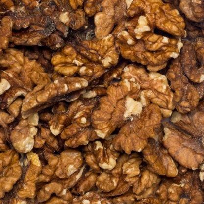 Close up walnuts halved organic.