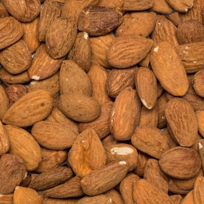 Close up valencia almonds organic