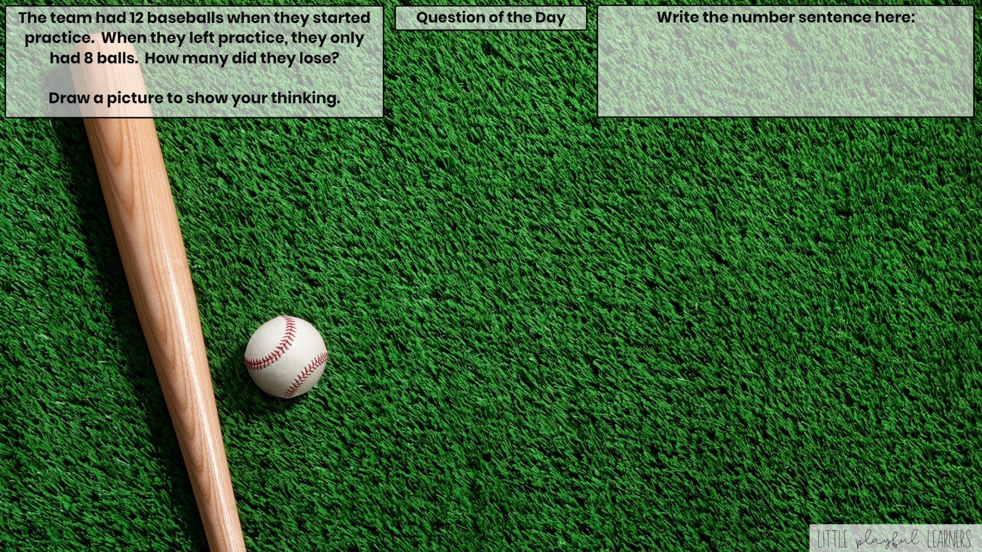 Seesaw: Story problem - baseball theme