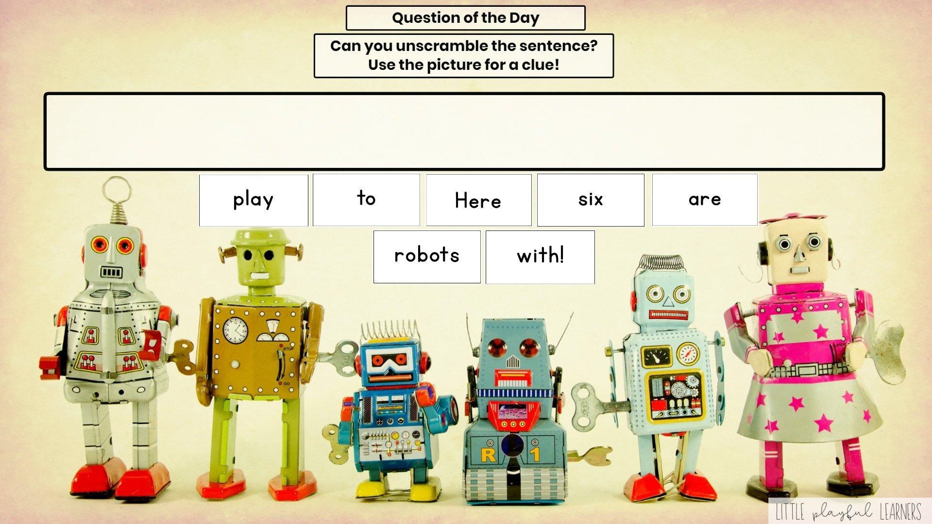 Seesaw: Sentence scramble - robot theme