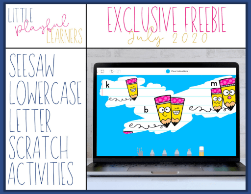 MEGA BUNDLE Freebie #1: Seesaw Lowercase Letter Scratch Activities