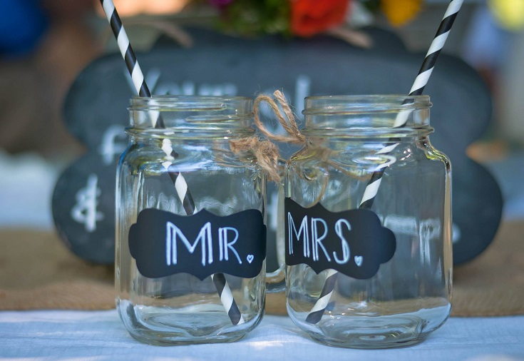 mr. and mrs. mason jar wedding glasses married
