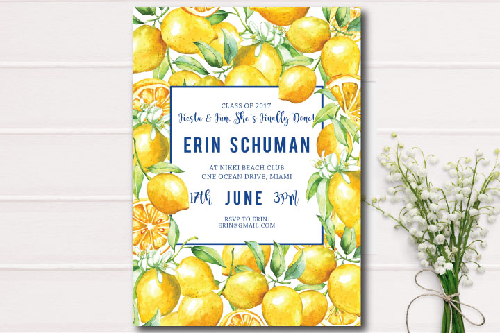lemon invitation-bridal shower-invites