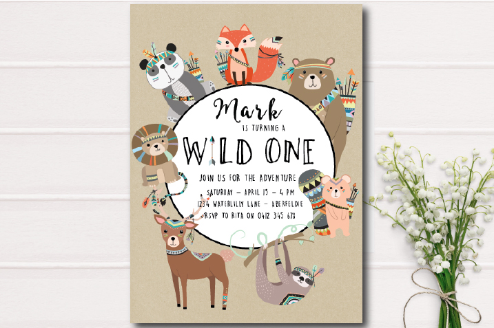woodland creature invitation-birthday party invite-first birthday-babies