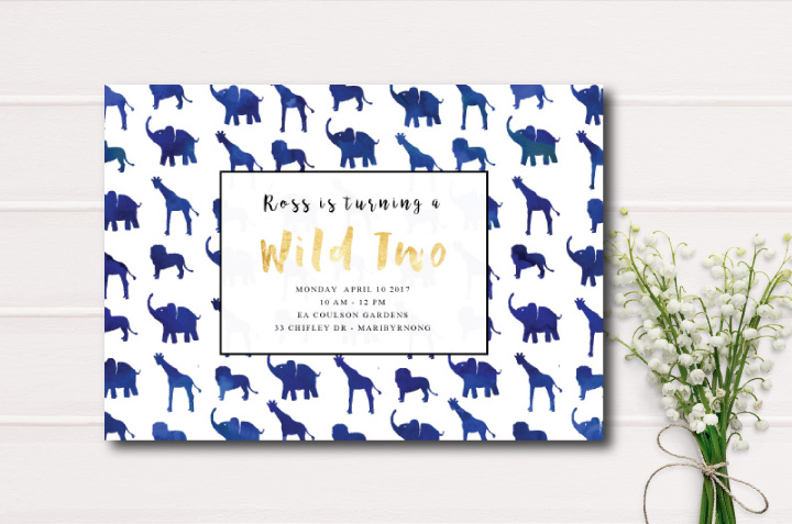 wild animal invitation-elephants-birthday invite-first birthday-second birthday
