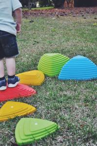 rock steady balance stepping stones- jump off jo- river stones- toddler skills