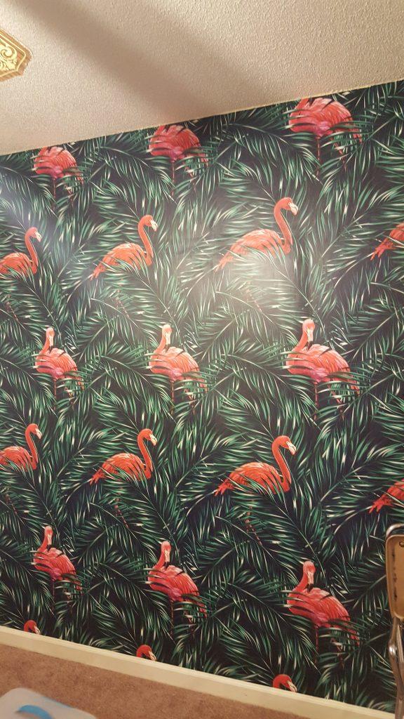 wallpaper-accent wall-flamingo nursery-flamingos-milton and king-girl room