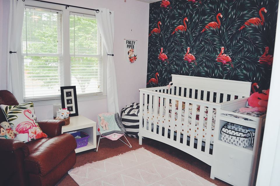 nursery-flamingo room-flamingo nursery-girl room-accent wall-