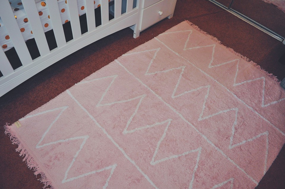 nursery-flamingo room-flamingo nursery-girl room-accent wall-washable rug-carpet-lorena canals