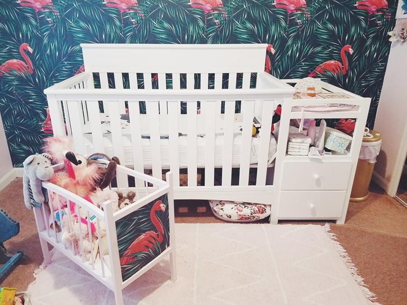 doll crib vintage upcycle stuffed animal storage baby girl nursery flamingo wallpaper accent wall