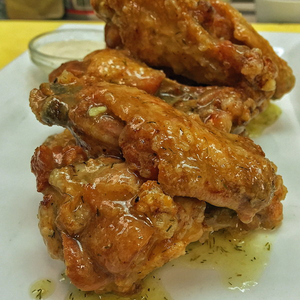 Little Pub Pickle Wings Plump wings brined in pickle juice, fried up crispy, and served with a jalapeño-dill buttermilk ranch dip