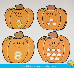 Pumpkin fun with one to one correspondence