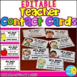 EDITABLE Teacher Contact Cards