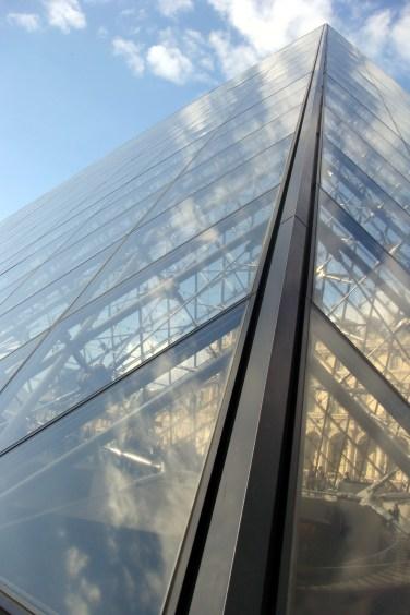 Close up of the pyramids of Le Louvre - Paris, France
