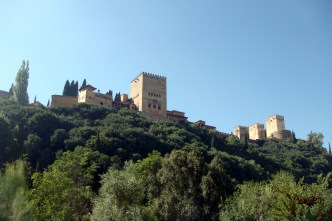 View of the Alhambra from below.