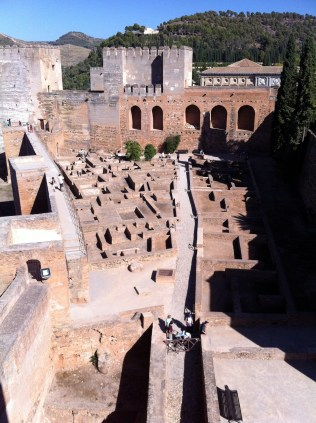 The Alcazaba, a Moorish fortification, is the oldest section of the Alhambra.