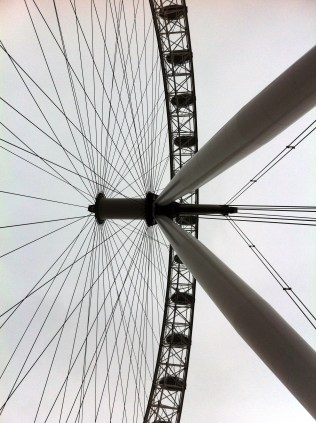 Walking underneath London Eye. I like this picture. (England)