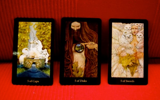 Fives of Cups, Disks and Swords, from the Mary-el Tarot by Marie White