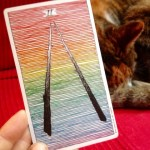 Two of Wands, from the Wild Unknown Tarot. And my cat in the background :)