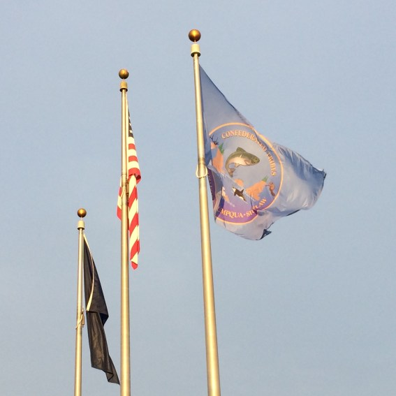 Tribal, US, and state flags