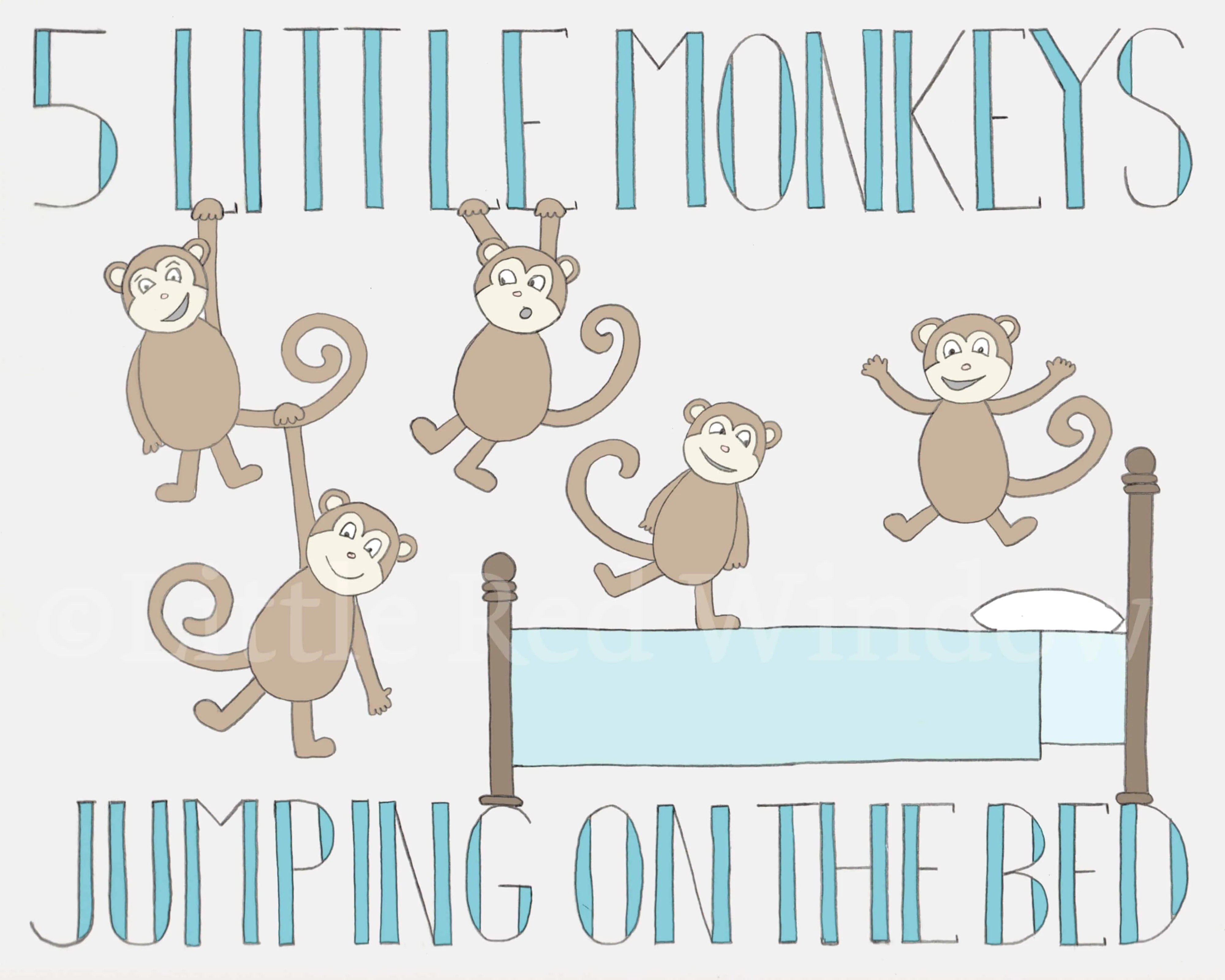 5 Monkeys Jumping On The Bed Printable Print Available On