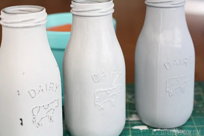 How To Chalk Paint Glass Milk Bottles Little Red Window