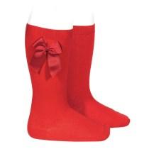 Șosete înalte roșii cu fundiță laterală Condor