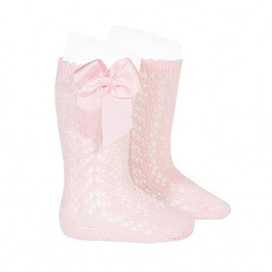 Șosete înalte roz deschis din tricot cu fundiță laterală Condor