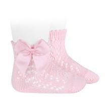 Șosete scurte din tricot, roz cu fundă laterală Condor