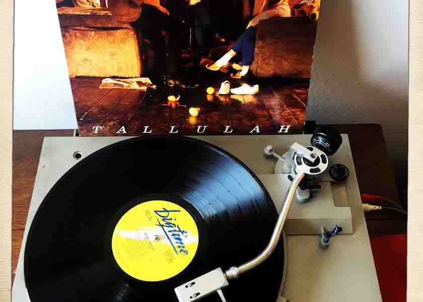 """The Go-Between's record """"Tallulah"""": the cover sits behind a turntable with the record playing."""