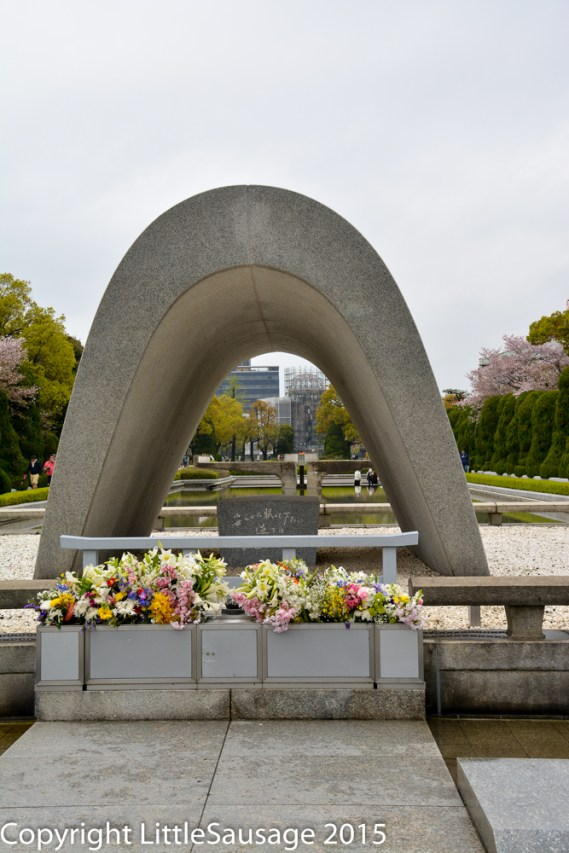 Through the arch in the middle distance you can see the Peace Flame burning.