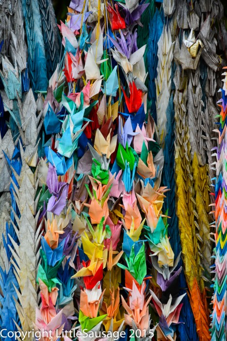 This small shrine is full of cranes, reminding me of the peace memorials in Hiroshima.