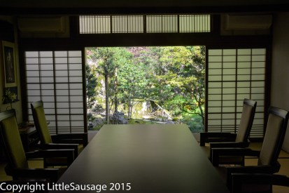 A room inside the temple at Nanzen-ji with a view of the garden.