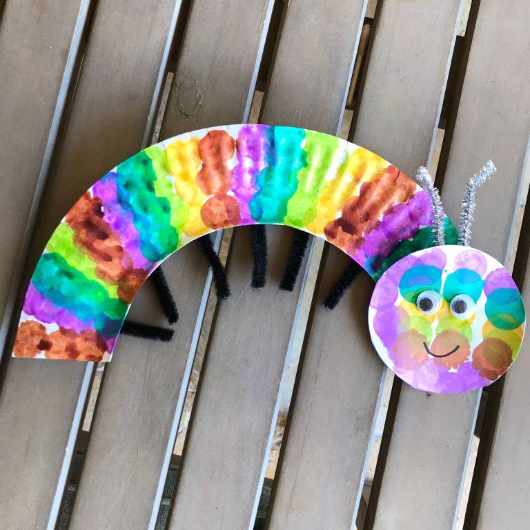 Little School of Smith's- paper plate bugs- caterpillar