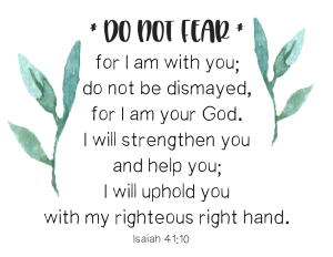 Isaiah 41:10 Do not fear