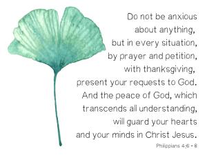Do not be worried verse: Philippians 4:6-8