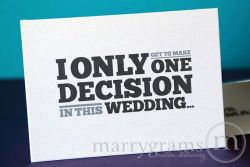 One Decision Groomsman Best Man - Marrygrams - Little Shop of WOW