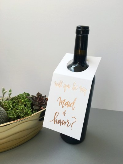 Will you be my maid of honor wine tag - Chez Gagne - Little Shop of WOW