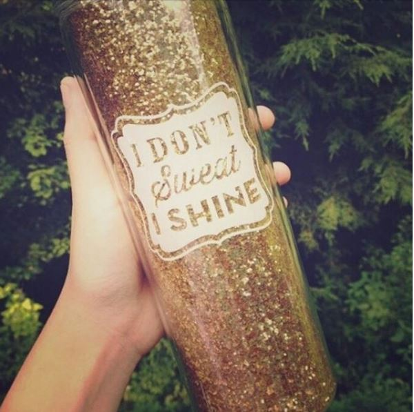 I don't Sweat I shine - slant collections water bottle - little shop of wow - canada - gold glitter
