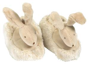 White slipper with a rabbit face on toes