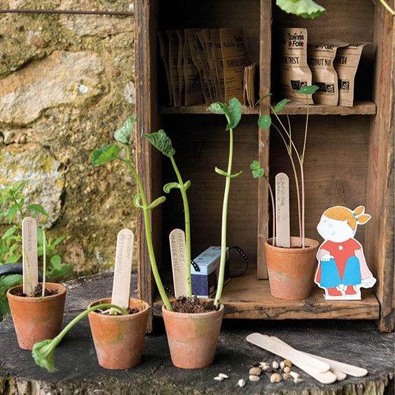 little pot plants with small plants and seedlings for outdoor toys