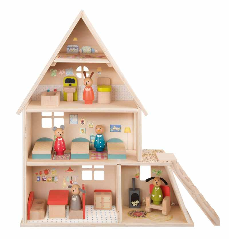 wooden dolls house australia - la grande famille - moulin roty - dolls house with furniture