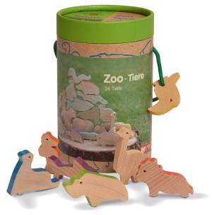 wooden zoo animals