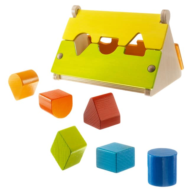 HABA wooden shape sorter with primary coloured blocks great for cognitive development