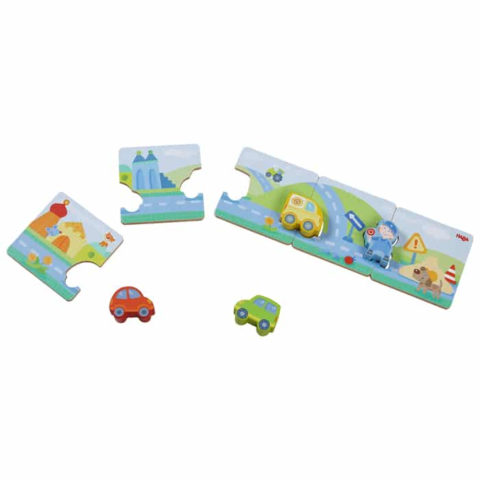HABA wooden vehicle puzzle for children age 2+ matching game